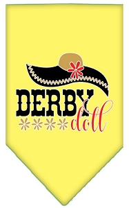 Derby Doll Screen Print Bandana Yellow Small